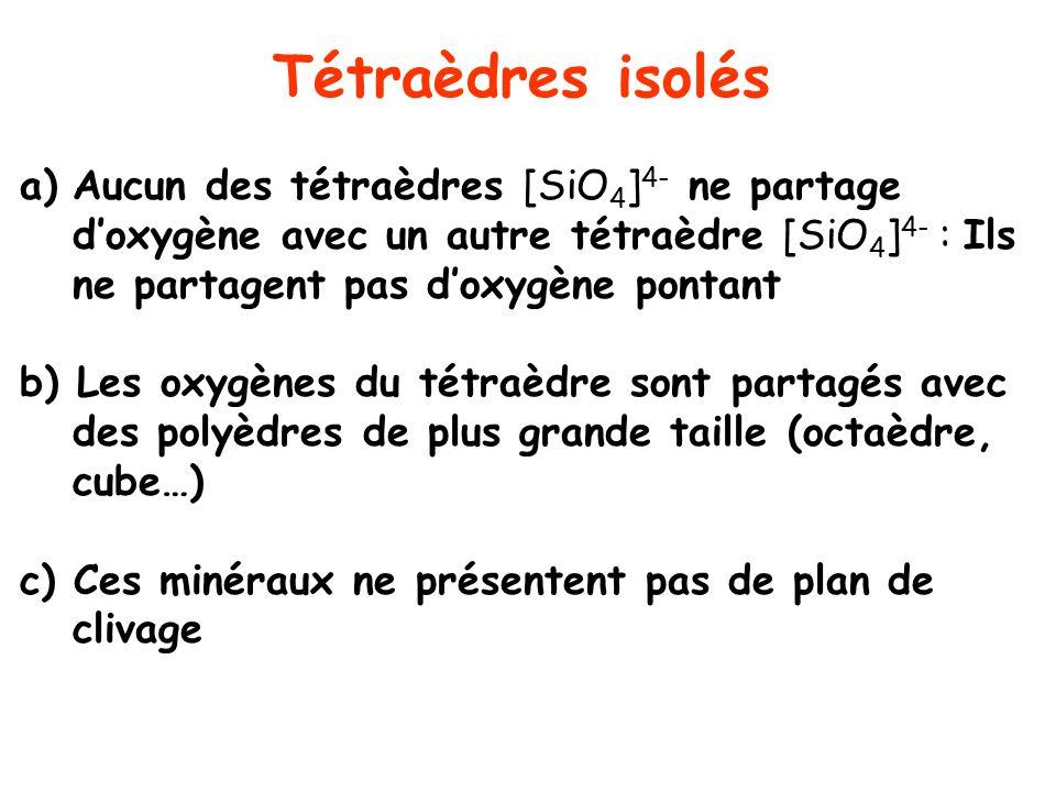 Tétraèdres isolés Aucun des tétraèdres [SiO4]4- ne partage d'oxygène avec un autre tétraèdre [SiO4]4- : Ils ne partagent pas d'oxygène pontant.